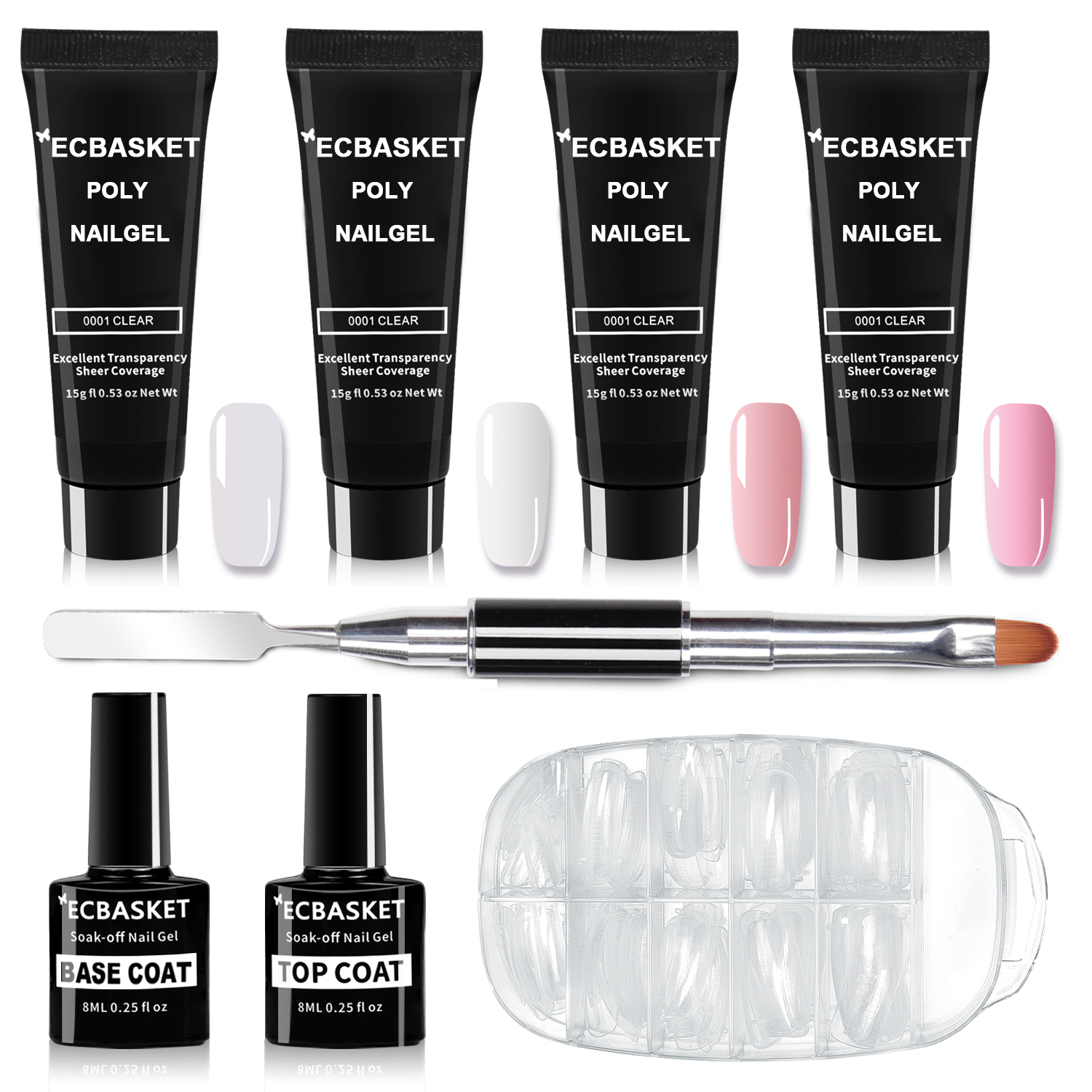 Ecbasket Upc 602168544749 Poly Nail Gel Kit Gel Nail Extension Professional Gel Nail Enhancement Builder System All In One Nail Technician French Kit